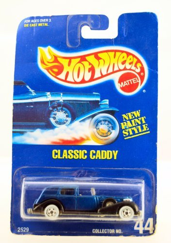 Hot Wheels - 1992 - Classic Caddy - Cadillac - New Paint Style - Blue & Black - Collector #44 - Rare - Limited Edition - Collectible 1:64 Scale - 1