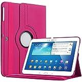 Bestwe 360° Ledertasche Flip Case Tasche Etui für Samsung Galaxy Tab 3 10.1 mit Ständerfunktion -Multi Color Options (Hot Pink)