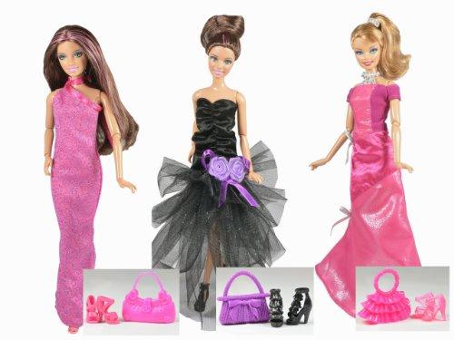 Vêtements Barbie - La collection des Hollywood (set de 3 robes) - POUPEES NON INCLUSES