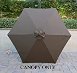 9ft Umbrella Replacement Canopy 6 Ribs in Cocoa (Canopy Only)