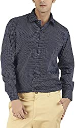 Silkina Men's Regular Fit Shirt (VPOI1509FBL, Blue Print, 40)