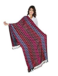 Figaro Purple & Blue Viscose Woven Women's Shawl