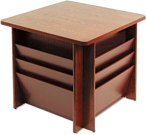 Buddy Products 929816 Reception Table, Square, 23-1/4w x 23-1/4d x 21h, Mahogany