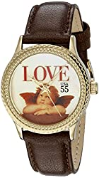 """The P.S. Collection by Arjang and Co. Women's PS-1002G-DB """"Love Cupid"""" Gold Colored Mother Of Pearl Dial Brown Leather Strap Watch"""