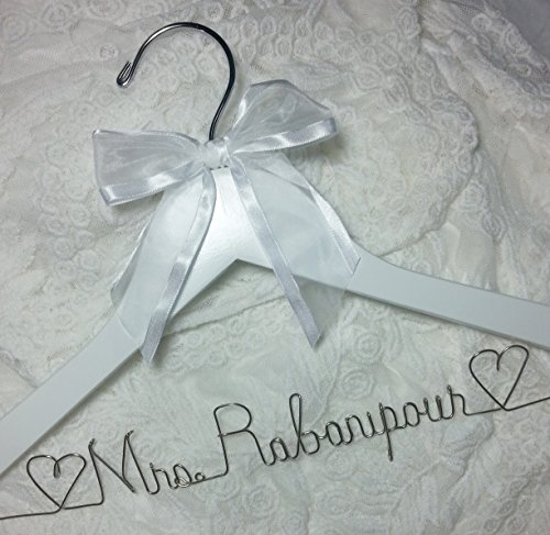 Bride Dress Hanger - Wedding - Personalized Name silver Wire - White Hanger - Bridal Bridesmaid gift
