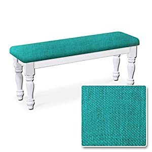 White finish farmhouse dining bench with teal burlap seat cushion