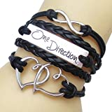 JQUEEN Double Heart Carved One Direction Words Vintage Silver Infinity Leather Rope Wrap Around Bracelet Bangle