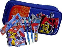 New Transformers Blue Pencil Case + Stationery Set