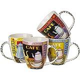 5th Avenue Collection Porcelain Mug Vibrant Colored ,16 Ounce Set of 4
