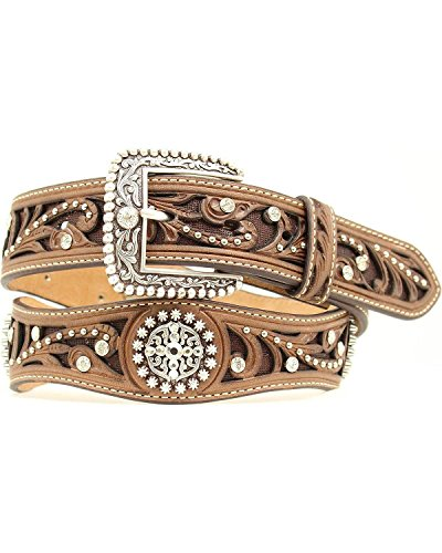 Ariat Women's Scalloped Hand Tooled And Embellished Western Belt Brown Medium (Hand Tooled Belt compare prices)