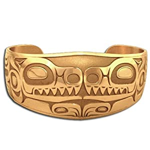 14K Yellow Gold Northwest Coast Native American House Of Wolf Bracelet. Made in USA.