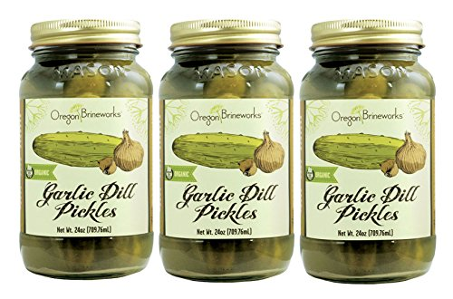 Garlic Dill Pickles, Raw, Fermented, Probiotic, Organic, 25 Oz (3 Pack) (Raw Organic Pickles compare prices)