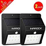 [2 Pack] InaRock Large Size 8 LED Outdoor Garden Landscape Lamp Solar Lights Outdoor Bright Step Light Solar Energy Powered Light - Waterproof - Motion Sensor Lights - Outside Wall Light