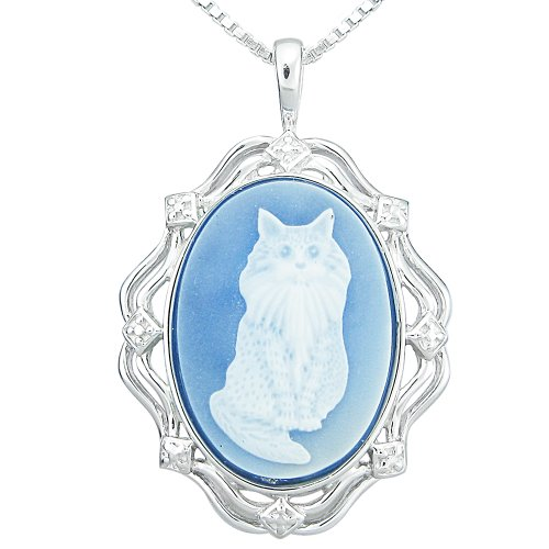 Sterling Silver Blue Agate Cat Cameo Pendant Necklace, 18