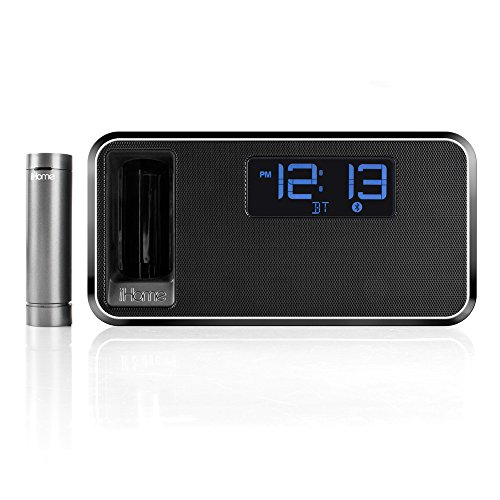 ihome ikn105 dual charging bluetooth stereo alarm clock radio speakerphone with portable usb charger. Black Bedroom Furniture Sets. Home Design Ideas