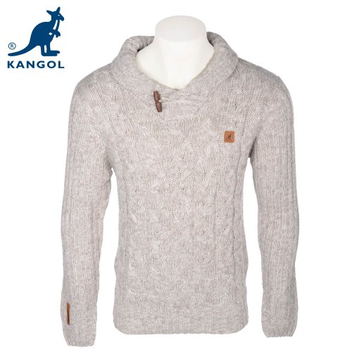 Kangol Mens Greymarl Collar Toggle Detail Knitted Jumper In Size Large