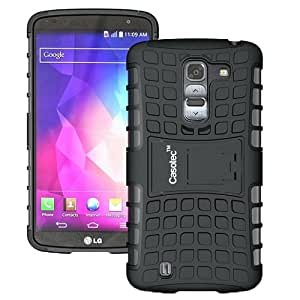Casotec Rugged Armor Hybrid Kickstand Case Cover w/ free Screen Protector for LG G Pro 2 - Black