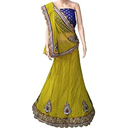 Yellow Designer Net With Embroidered lehenga Choli.