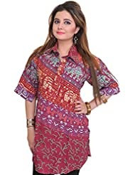 Exotic India Kurti From Pilkhuwa With Printed Elephants And Collar Neck