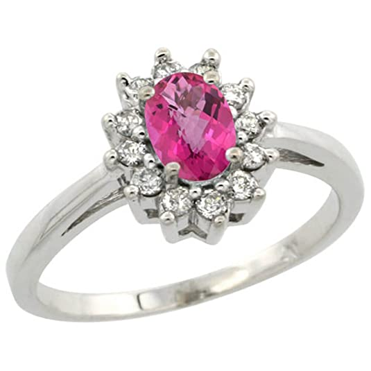 Revoni Sterling Silver Pink Topaz And Diamond Ring, Oval Stone (6x4 mm)