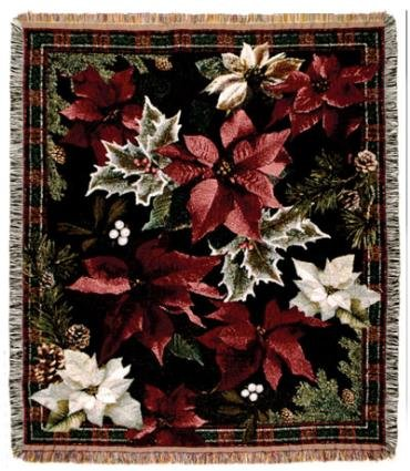 Poinsettia N' Plaid Christmas Holiday Tapestry Throw Blanket 50