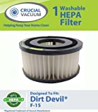 Dirt Devil F15 Washable HEPA Filter for ALL Dirt Devil Quick Vac Models; Compare to part #1-SS0150-000, 3-SS0150-001 (3SS0150001); Designed & Engineered By Crucial Vacuum