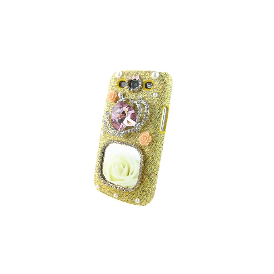 Luxury 3d Crystal Square Mirror Pink Diamond Imperial Crown Pearl Gold Shining Hard Back Case Cover for Samsung Galaxy S3 I9300+ Cleaning Cloth + 2013 Calendar Card + Pink Stylus Pen + Butterfly And Flower Dust Plug