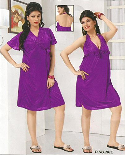 Odishabazaar Women's Silk Satin Nighty Overcoat Purple 2pc Set Sleepwear Nightwear Sexy Dress-Free Size