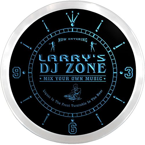 Ncqh0029-B Larry'S Dj Zone Music Turntable Bar Beer Led Neon Sign Wall Clock
