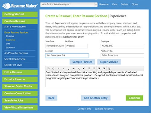 Resume help for window maker