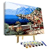 VIGEIYA DIY Paint by Numbers for Adults Include Framed Canvas and Wooden Easel with Brushes and Acrylic Pigment 15.7x19.6inch (Color: vienna town, Tamaño: 15.7*19.6in)
