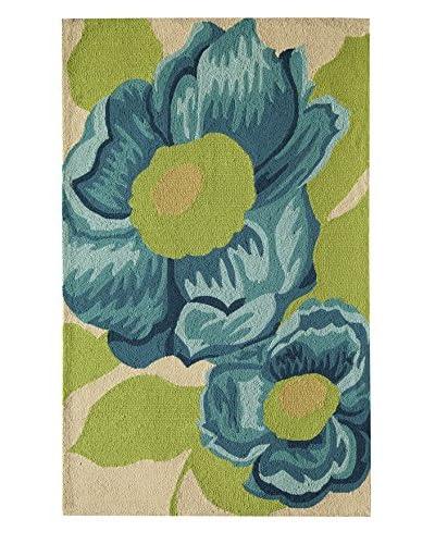 Rugs America Lenai Indoor/Outdoor Blue Camellia Rug