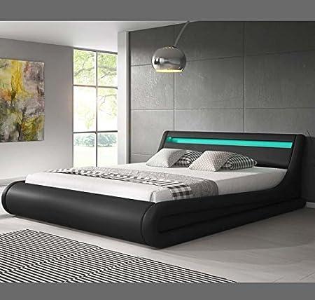 Muebles Bonitos – Luxus Designer LED-Polsterbett mit Bettkasten Schwarz 140x190