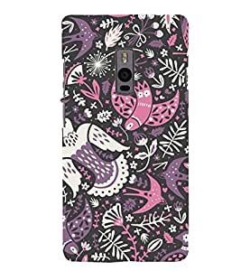 colourful birds in black background ethnic pattern 3D Hard Polycarbonate Designer Back Case Cover for One Plus Two :: One Plus 2 :: One+2 :: OnePlus 2