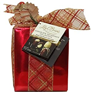 Lily O'Brien's Christmas Gift Box Wrapped 25 Chocolate Truffle - Red