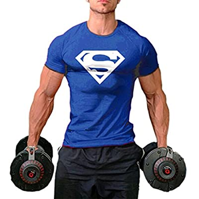 Men's Superman T-Shirts Bodybuilding Muscle Training Short Sleeve Royal blue