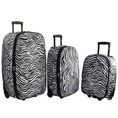 3 Piece Suitcase Set Suitcases Frenzy Zebra Print Luggage Travel - Black Zebra Print