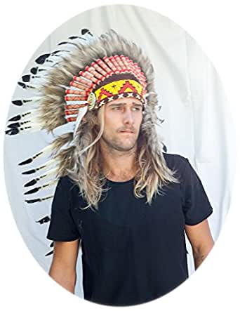 "Choose color - 37"" Indian Headdress - Native American Headdress - Real Feathers"