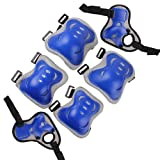 Nsstar 6pcs Kid Children Roller Bicycle Bike Skateboard Extreme Sports Bogu Protector Guards Pads Sport Protective Gear Safety Pad Safeguard Knee Elbow Wrist Support Pad Set (Style 1:Blue)