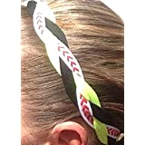 It S Ridic No Slip Grip Non-Slip Sports Athletic Nylon Triple Braided Sports Headband Black | Neon Yellow | Redstripe