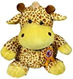 Giraffe soft toy 50cm tall with rosette and detachable badge with message I love you