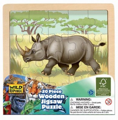 Picture of Wild Republic Wood Puzzle Rhino (B004TQ2JZ0) (Jigsaw Puzzles)