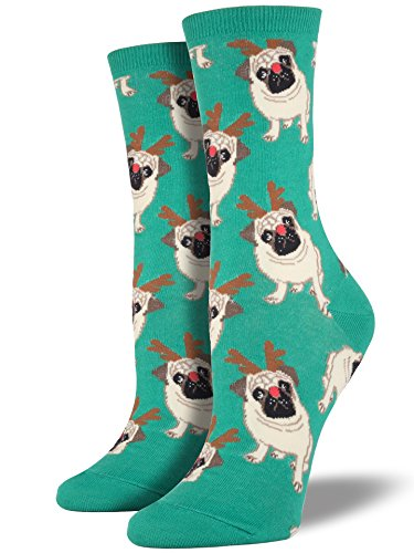 Socksmith Women's Antler Pug Crew Socks, Green, Medium