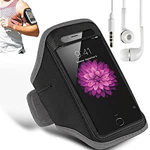 N+ INDIA SONY XPERIA M2 Adjustable Armband Gym Running Jogging Sports Case Cover Holder with free earphone with mic Gray