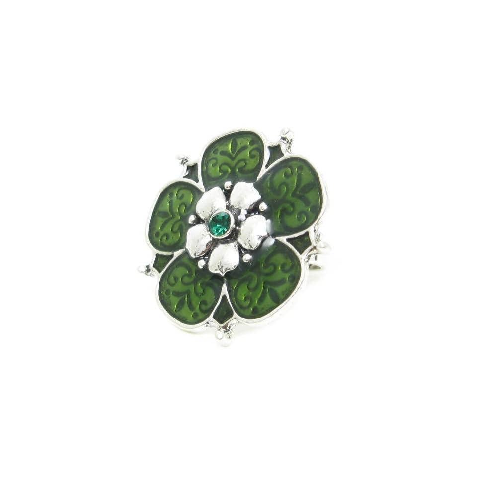 AM5554   Enamel / Crystal silvertone adjustable Flower ring   35mm diameter   Green