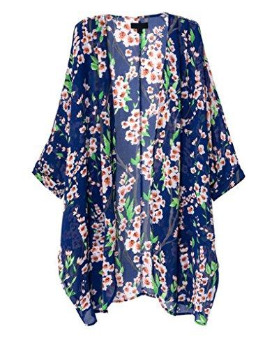 Olrain Women's Floral Print Sheer Chiffon Loose Kimono Cardigan Blue