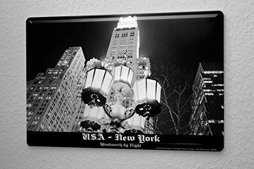 targa-in-metallo-dave-butcher-nero-foto-stati-uniti-damerica-new-york-woolworth-building-night-20x30