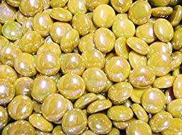 Creative Stuff Glass - 5 Lb - Opal Yellow Iridescent Glass Gems - Vase Fillers (17-19mm, Approx. 3/4\