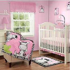 4pc Baby Boom I Luv Zebra Crib Bedding Set, Pink