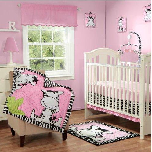 Baby Boom I Luv Zebra 3Pc Crib Bedding Set, Pink front-27707